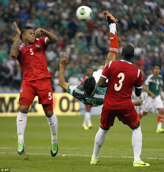 Spectacular: This remarkable scissor-kick from Mexico's Raul Jimenez five minutes from time in the match against Panama may have saved their World Cup. The 2-1 win may give El Tri a chance to get to Brazil.