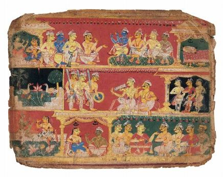 Uddhava advises Krishna to assist at the Rajasuya Sacrifice of Yudhisthira. Leave from the dispersed early Rajput Bhagavata Purana, Opaque pigments heightened with gold, Early Rajput style, possibly from Mewar, 1520–25 A Prince's Eye: Imperial Mughal Paintings from a Princely Collection; Art from the Indian Courts, Francesca Galloway sale catalogue, London, 2013