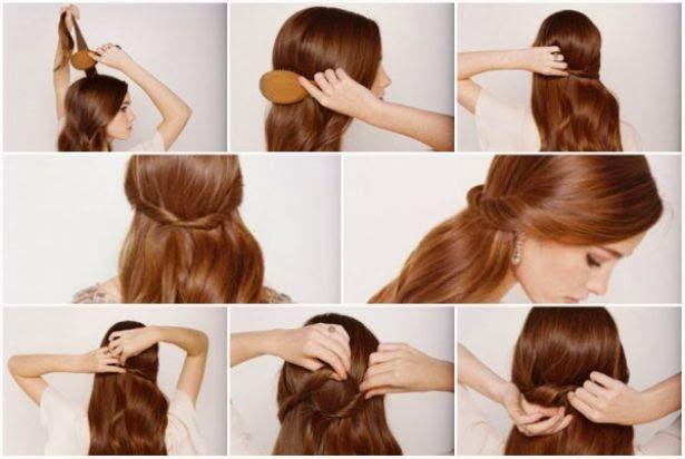 3 Peinados para la flojera: Media cola Este peinado es el más sencillo de todos y te dará un look más romántico; si tu cabello es largo sácale partido con este tocado.  Lo único que necesitas hacer es darle volumen a la parte alta del cabello con un peine, estilizar como tú gustes, ya sea con rizos o lacios y tomar dos mechones de cabello a la altura de las orejas y llevarlos al centro de tu cabeza.