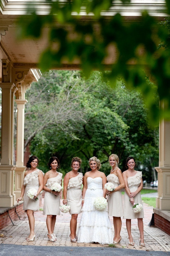 neutral wedding ... champagne bridesmaid dresses this would be great with  teal flowers. Even i their hair.