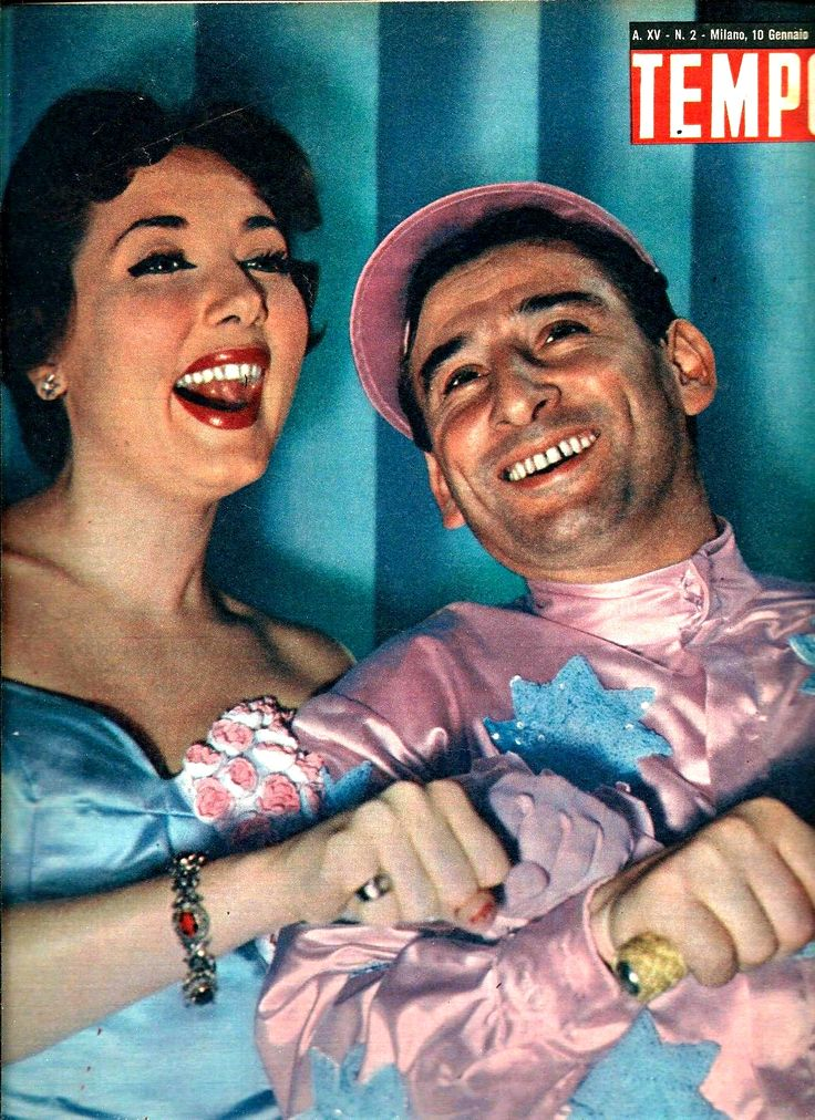 "Lauretta Masiero with Italian revue and comedy star Renato Rascel. Back cover of Italian weekly newsmagazine ""Tempo"" [Time], 10 January 1953."