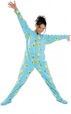 Footie pajamas for adults!  Really?!