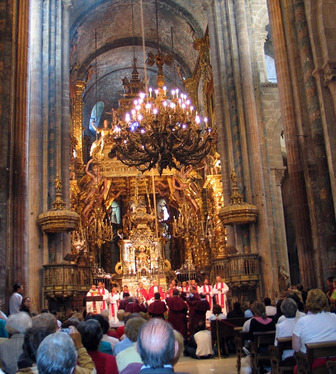 Pilgrims' Mass in the Cathedral in Santiago de Compostela  Spain