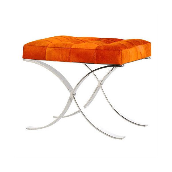 Orange Leather Hide Dressing Table Stool ❤ liked on Polyvore