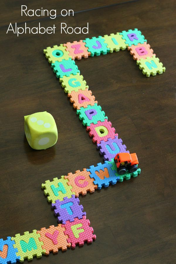 Learning Numbers on Alphabet Road - always looking for ideas what to do with our alphabet foam playmat!