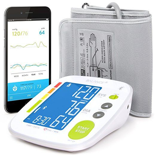 Bluetooth Blood Pressure Monitor w/Cuff  (affiliate) Digital | Large Display | Bluetooth Tracking | FDA Cleared | LCD Screen | 2 User Memory | Easy to Use | Includes storage Bag