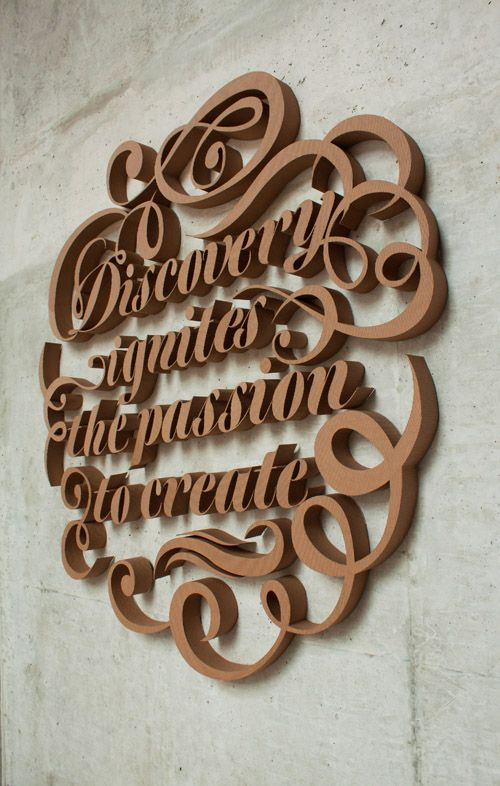 Cardboard: 3D Cardboard, 3D Typographic, Typographic Installations, Farah Tamachi, Corrugated Cardboard, Typography Art, Discovery Ignit, 3D Types, 3D Typography