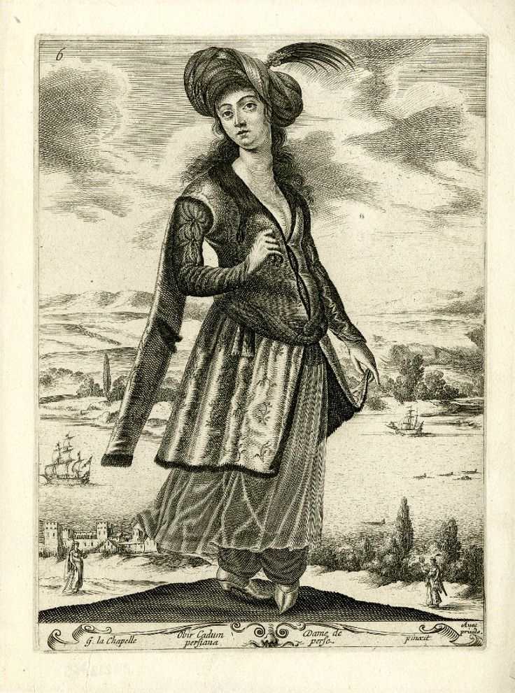 Standing woman in Persian costume, with turban adorned with feather, embroidered, fur-trimmed tunic, see-through skirt and baggy breeches; coastal landscape in the background; after La Chapelle. c.1648 Etching and engraving