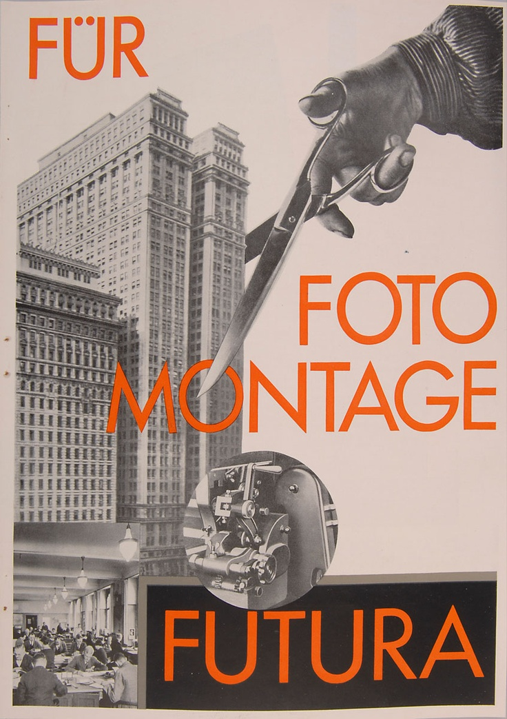 Paul Renner. Advertising brochure: 'Futura. Für Fotomontage Futura', 1927-30. 30.1 x 22.5 cm. Four pages. Foto offset and colour lithograph on offset paper. Very rare addendum to the 'Typographische Mitteilungen'.