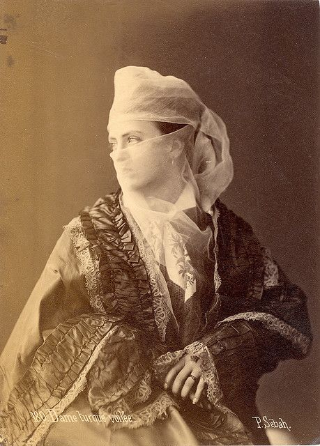 Dame turque voilée (Veiled Turkish Lady) - 1880s Albumen Photograph by Pasqual…