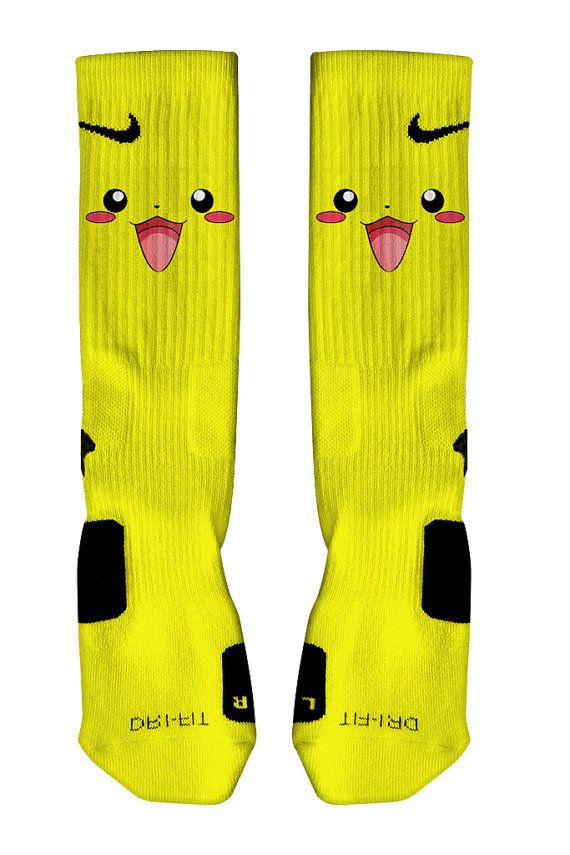 Pikachu Pokemon Nike Elite Socks Customized Fast shipping! | To Wear | Pinterest | Nike elites ...
