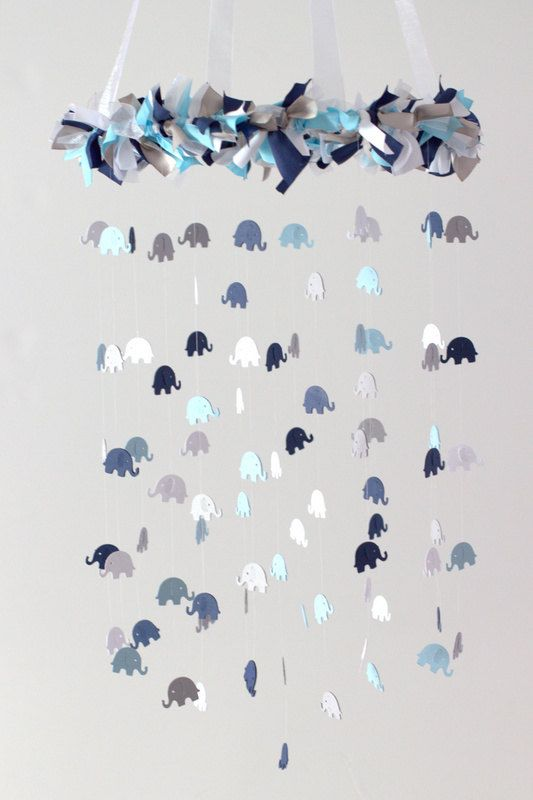 Elephant Mobile in Navy Baby Blue Gray & White by LoveBugLullabies