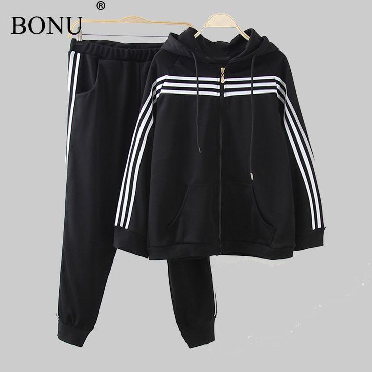 BO NU 2 Piece Bomber Jacket+ Pants Women Black Plus Size Sportswear Autumn Jacket Loosen Basic Coats Jacket Coats female #Affiliate
