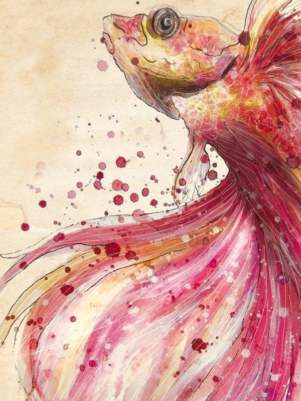 rahaf dk albab #brush #illustration #fish