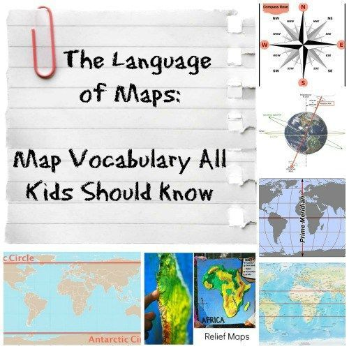 The Language of Maps: vocabulary and map concepts for Social Studies and Geography for kids. Love the simple definitions paired with fantastic images.