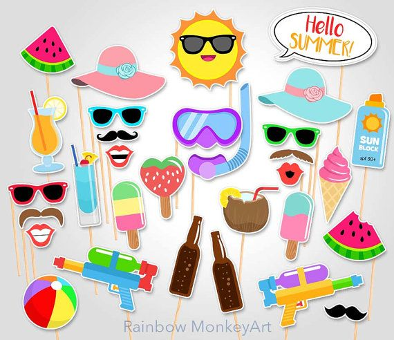 Printable Summer Time Party Photo Booth Props by RainbowMonkeyArt