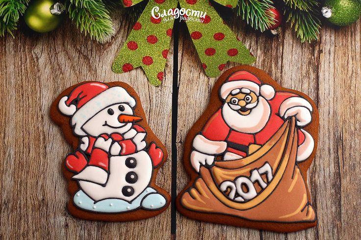Пряник новогодний дед мороз и снеговик 2017 #Новогодниеподарки #новогодний…