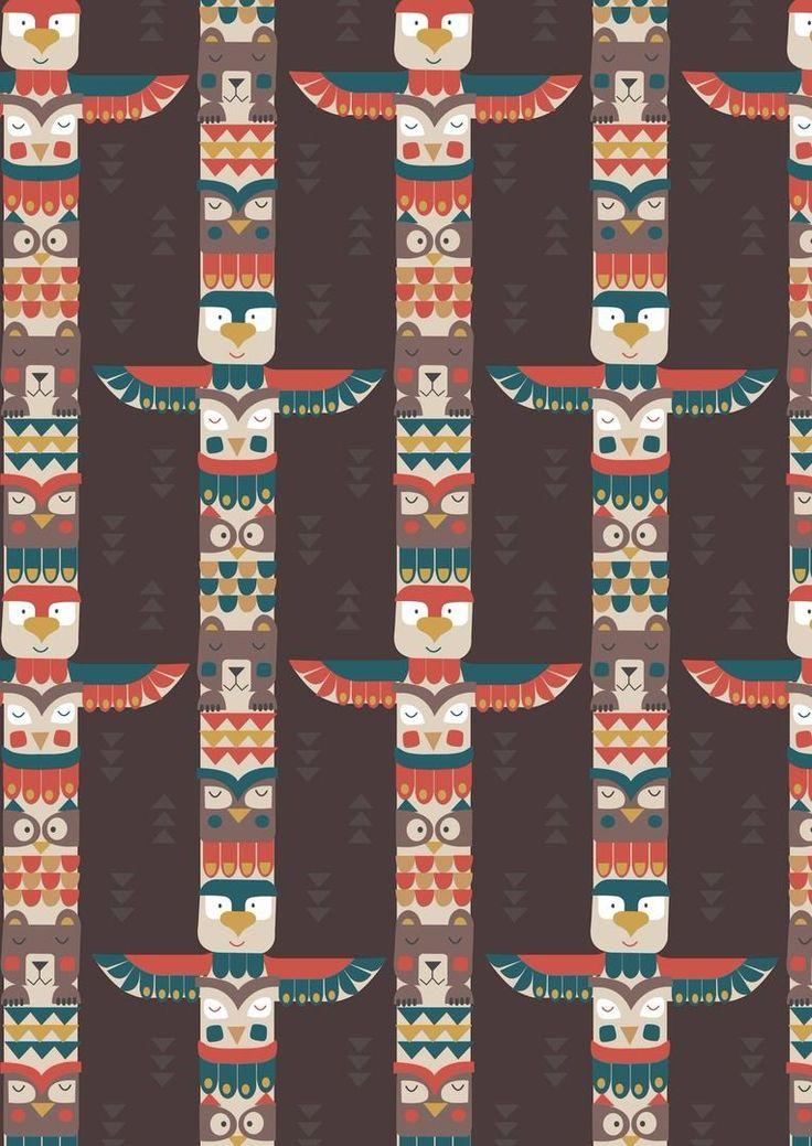 Big Bear Little Bear A105.3 - Bear & friends totem on chocolate from Lewis & Irene // Juberry Fabrics