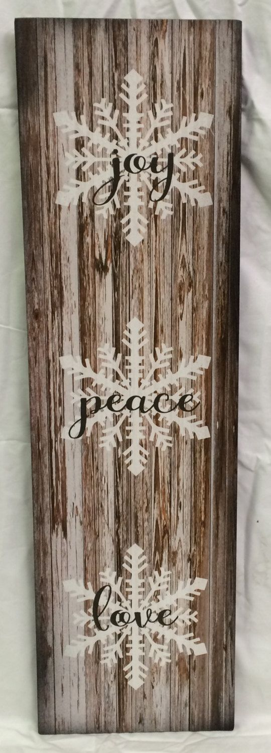 Joy Peace Love Wood Sign or Canvas Wall Hanging - Christmas, Farmhouse,Winter Sign, by HeartlandSigns on Etsy