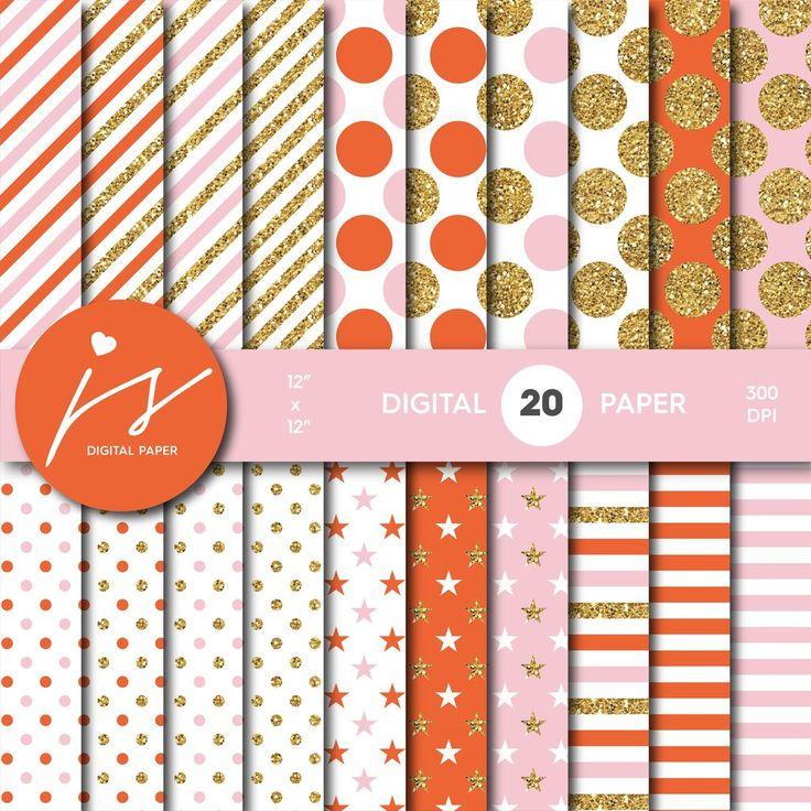 Pink and Orange glitter gold digital paper scrapbooking pattern, MI-777