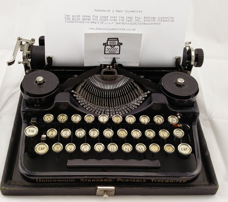 "1920's Working Underwood 3-Bank manual typewriter. It is a very compact portable for a 90 year old machine! Comes with a new ribbon and the original case. Although the ""H"" malfunctions at times. For sale on  www.LondonTypewriters.co.uk! #londontypewriters #vintage #decor #vintagetypewriter #retro #prop #literature #poetry #retrodecor #collectable #typewriter #art #home #homedesign #lifestyle #poets #novel #writers #typewriterfont #keys #old #london #uk #ebay #etsy #underwood #tuesday #1920s"