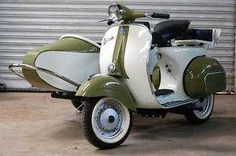 1969 Vintage Vespa 150 Scooter with Sidecar.