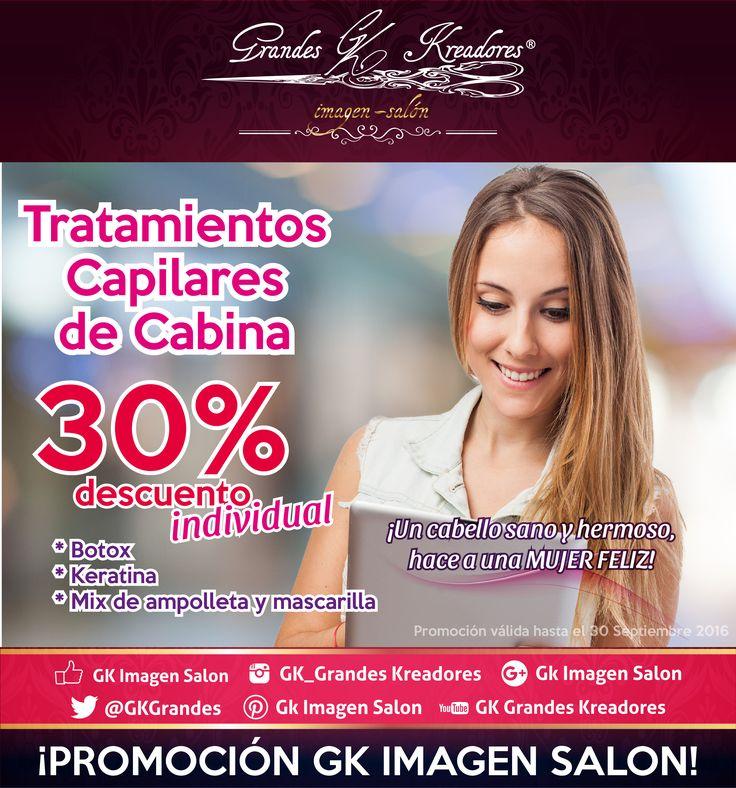 Tratamientos capilares con 30% de descuento. #botox #capilar #keratina #mix #ampolleta #mascarilla #promocion #GkImagenSalon #salon #belleza #cabello