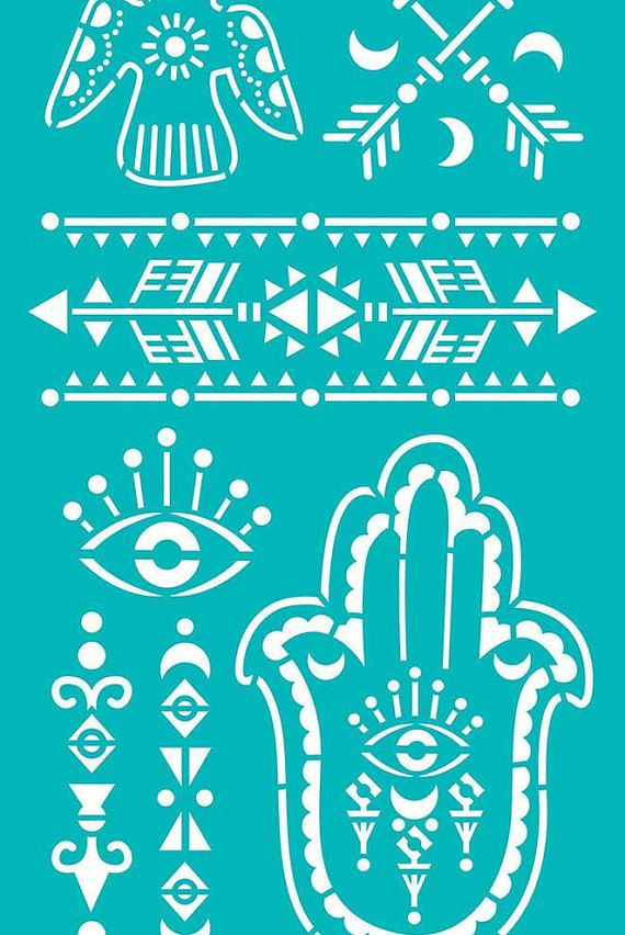 "Stencil Stencils Templates ""Hamsa, Eye, Dove, Arrows"", self-adhesive, flexible…"