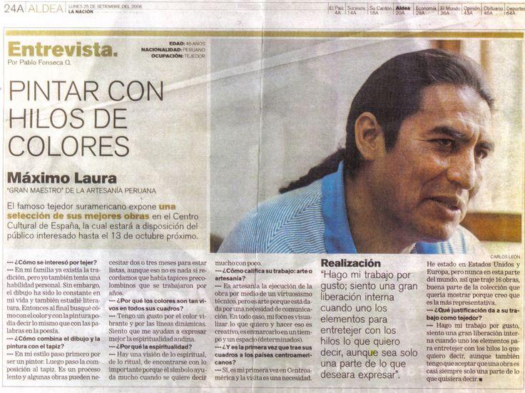 """""""Pintar con hilos de colores"""" Máximo Laura. Escrito por Pablo Fonseca. La Nación Periodico de Costa Rica. 2006."""