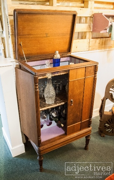 Victrola Cabinet Converted Into A Beverage Bar By Linked To The Past