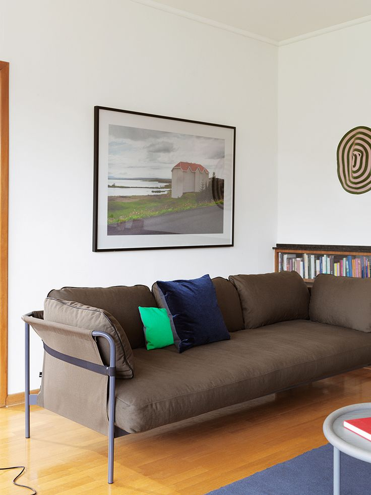 Can sofa and Eclectic cushions.