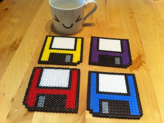 Floppy disk coasters Set of 4 by kosmikgirl on Etsy, $15.25