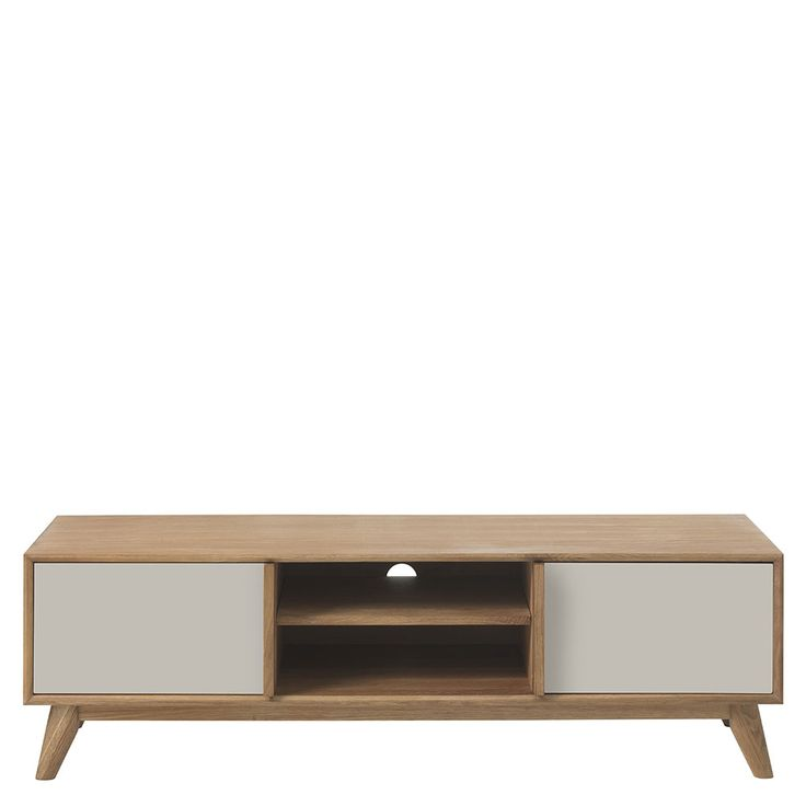 Lund 2 Door Oak TV Cabinet, Grey fronts | Dining Chairs | Dining Room