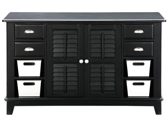 Plantation cove black console table with tin bins value - Plantation cove bedroom furniture ...