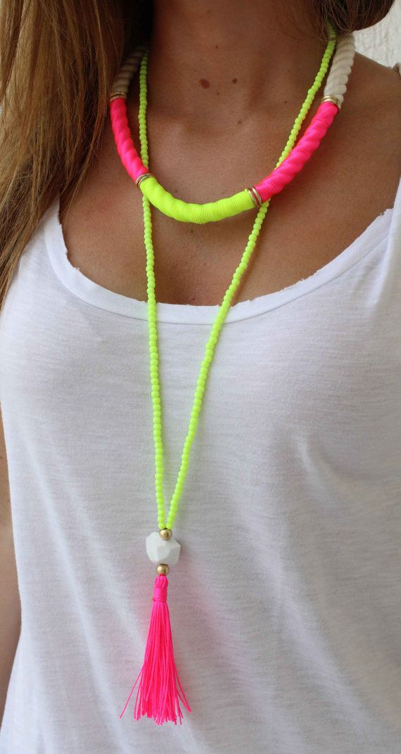 Collar largo con cuentas collar Neon amarillo borla collar