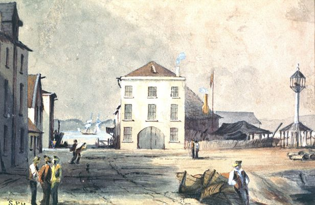 The Old Wharf in Hobart Town. Painting by Samuel Prout Hill (c.1850)