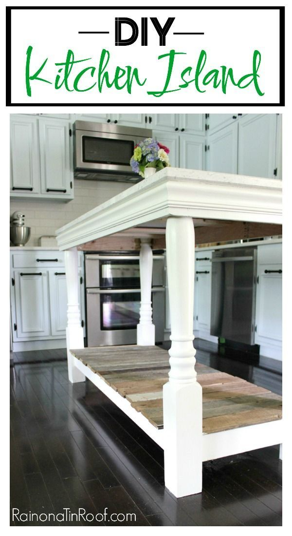 This DIY Kitchen Island was made for about $100 (excluding the countertop). Pretty easy build for a beginner DIY project. Great kitchen island idea! They used old barnwood and old porch posts for part of it!