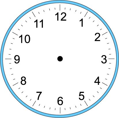 "Big Blank Clock-  Instructions: Print on a heavy cardstock paper. Laminate your printout (optional). Cut out the Hour-, Minute- and Second-Hands. Glue or tape both labelled and non-labelled hands back-to-back (optional). A paper punch can be used to make holes in the ""Hands"". Use one (1) brass fastener to make your clock."