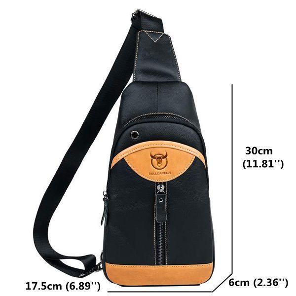 Genuine Leather Crossbody Bag Patchwork Shoulder Bag Chest Bag For Men is worth buying - NewChic