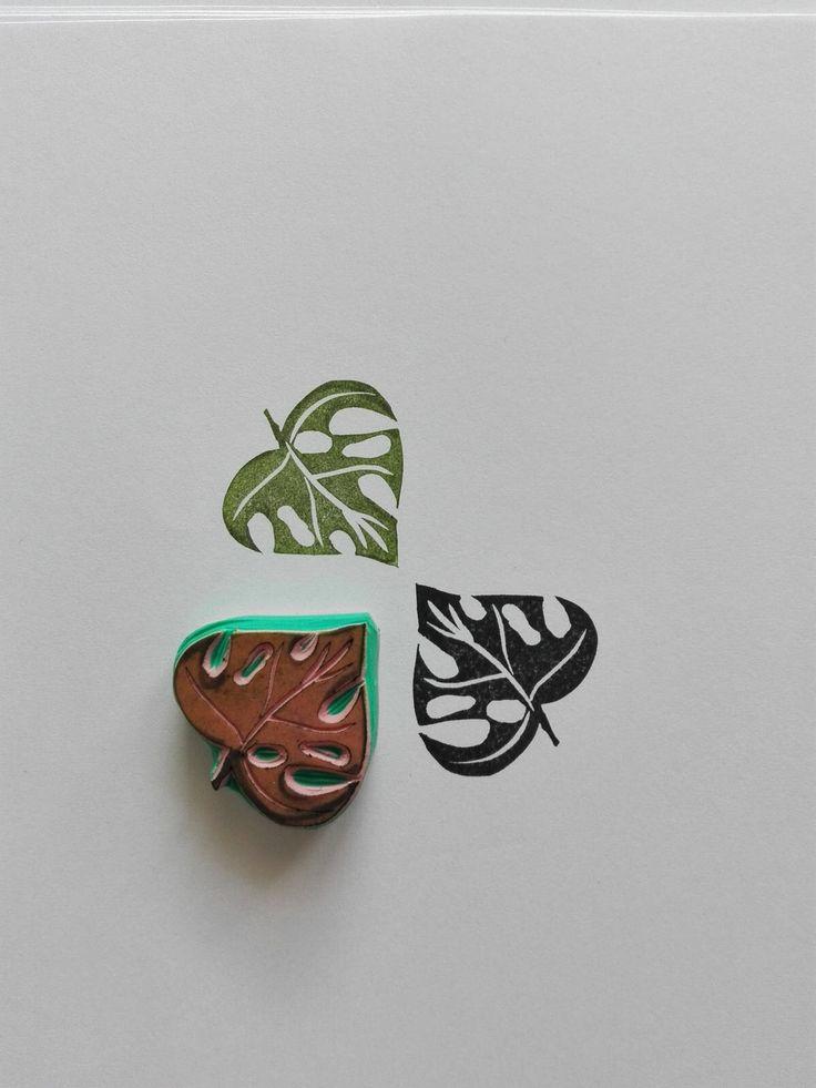 monstera leaf stamp