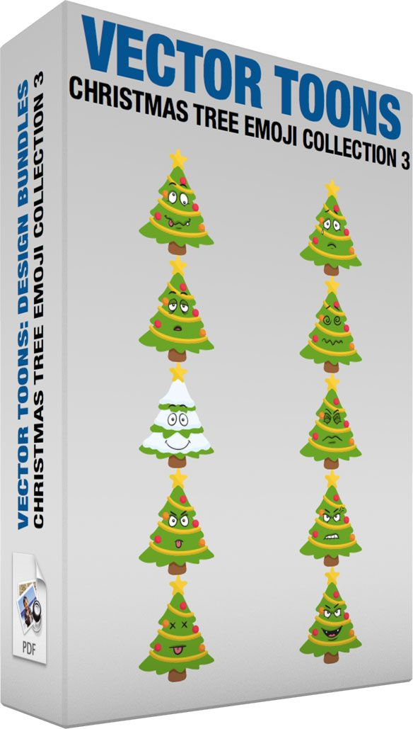 Christmas Tree Emoji Collection 3 #cartoon #clipart #vector #vectortoons #stockimage #stockart #art
