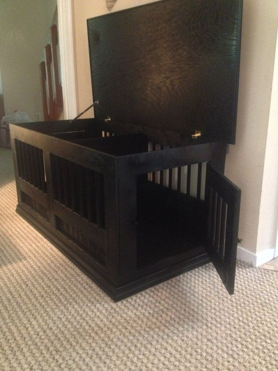 Dog crate hope chest.. Something like this could work..