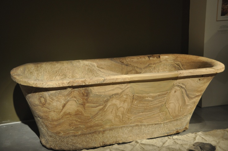 Stone bathtub found in calderium of bath-house at Cypros
