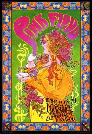 Pink Floyd Mad Hatter's Tea Party concert commemorative poster by Bob Masse, 1966 http://ssdd.samsbiz.com/store/item/y0ak/Posters/Pink_Floyd_-_Bob_Masse_Design_Poster.html