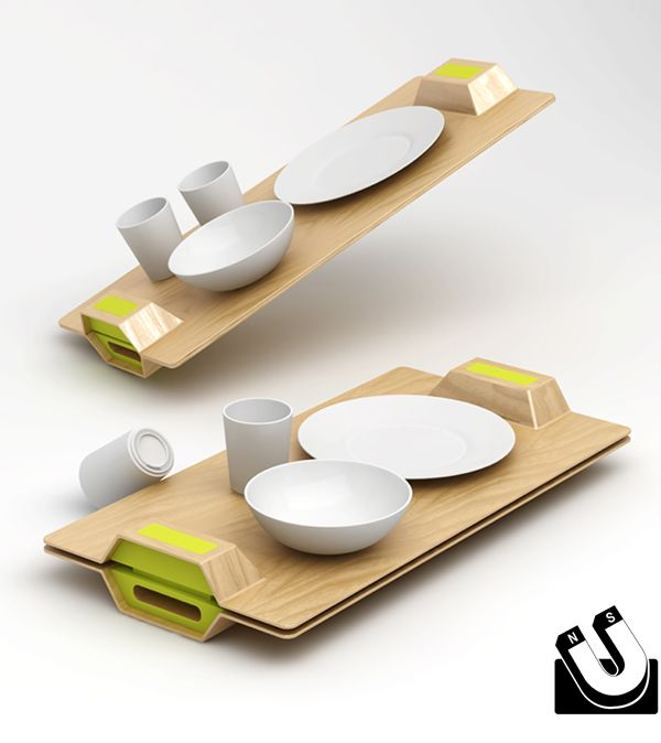 Magnetic tray and dishes, breakfast in bed made easy