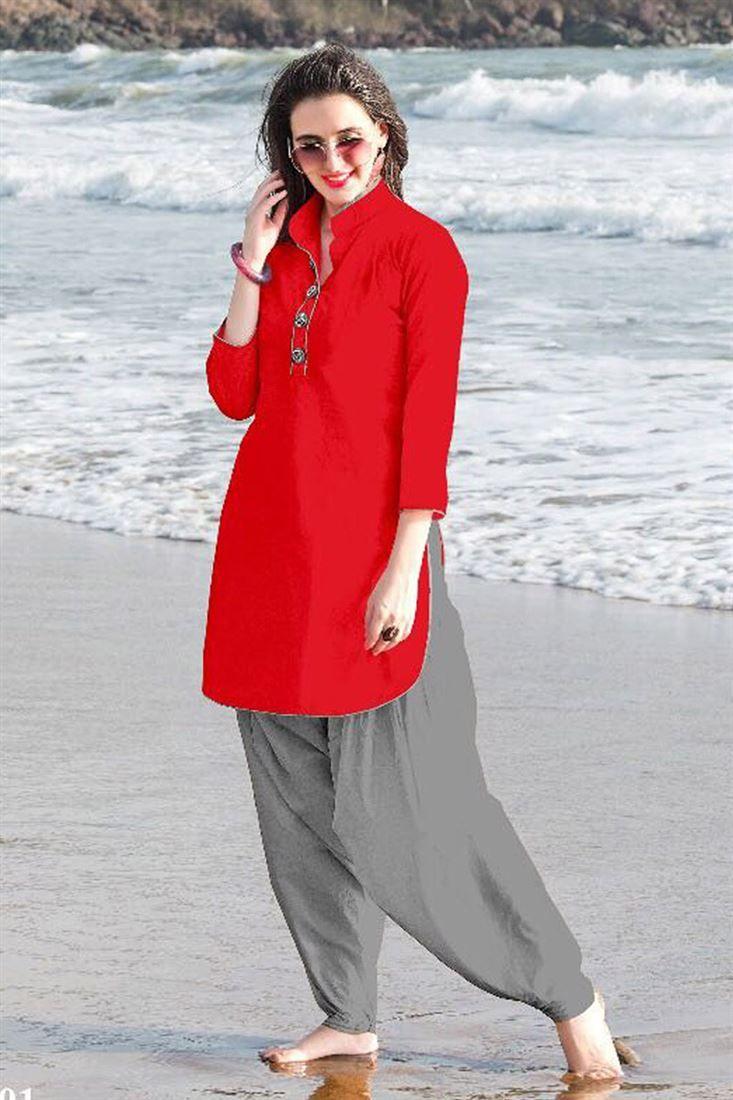83f4bbf934 Cotton Plain Short Latest Kurti Designs 2018 With Salwar Bottom ...