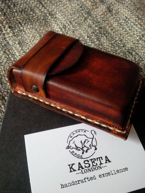 20 cigarette packet leather case fits over the by KasetaLeather