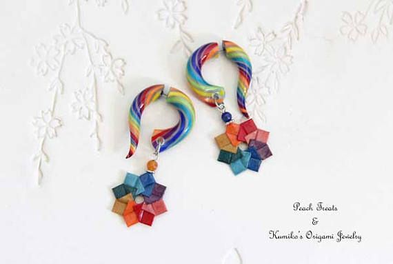 Fake Gauge Earrings with Rainbow Origami Wreath No.03457  Big