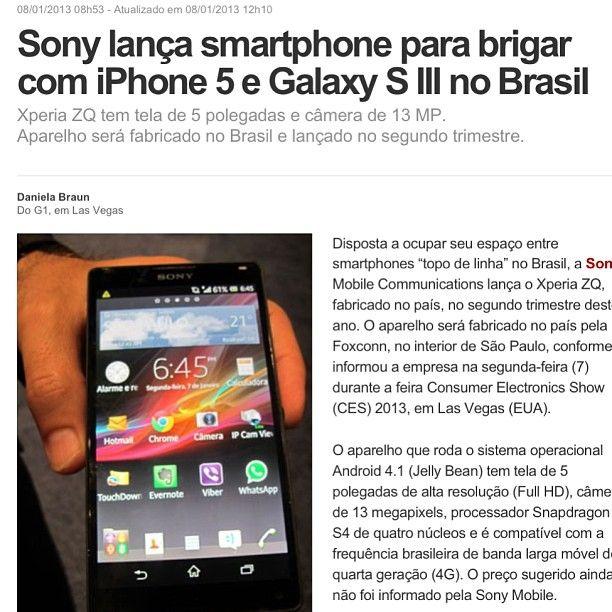Novo concorrente do IPhone 5 e Galaxy S III , Sony entra com tudo e inova! #sony #tecnologia #instalover #instatech #novidades #socialmedia #facilidade #marcas #iphone #galaxyS #sansung #brigas #tendencias #instacool #instagram #instagood #Brasil #Mercado #news #work