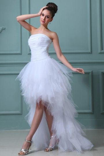 High low White Modern Strapless Pleats Tiers Beach wedding dress